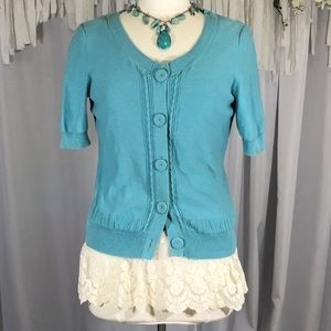 Liz&Co. Blue Sweater Cardigan Kitted size Medium